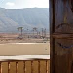 Casa de los Coroneles, interior planta noble. Vistas desde el comedor. La Oliva, Fuerteventura.